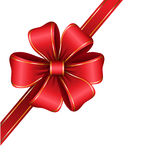Red gift bow with ribbon Stock Images