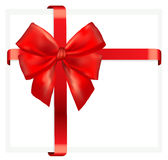 Red gift bow with ribbon. Stock Image