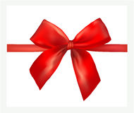 Red gift bow with ribbon. Royalty Free Stock Photos