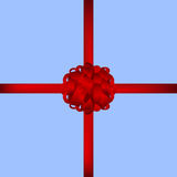 Red gift bow of ribbon Royalty Free Stock Photos