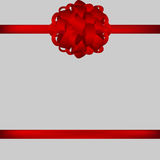 Red gift bow of ribbon Royalty Free Stock Images