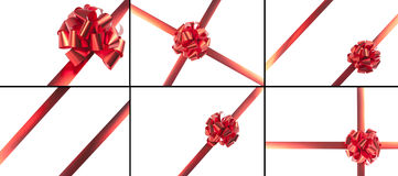 Red gift bow and ribbons Stock Photos