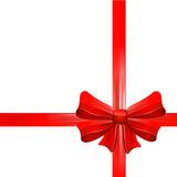 Red gift bow with ribbons. Vector. Royalty Free Stock Photography