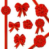 Red gift bow set Stock Image
