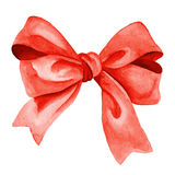 Red Gift bow. Watercolor illustration Stock Image