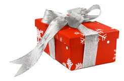 Red gift box-1. Red gift box with silver ribbon Royalty Free Stock Image