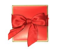 Red Gift Box. A photo of a red gift box set against a white background Royalty Free Stock Photos