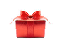 Red Gift Box. On white background stock photos