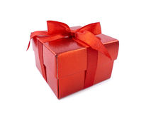 Red Gift Box. On white background royalty free stock photos
