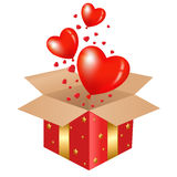 Red Gift Box. With Balloons, Vector Illustration Royalty Free Stock Photo
