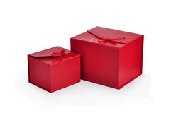 Red gift box. Two red gift box on white background Stock Photo