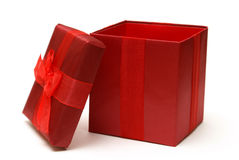 Red Gift Box. An empty red gift box with the lid off for easy insert of your merchandise in a photo editing program Stock Photography