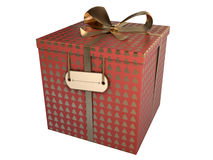 Red gift box. With golden christmas trees isolated on white Royalty Free Stock Photography