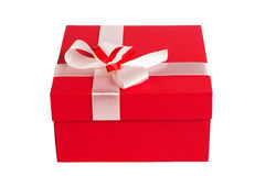 Red gift box. Closed, isolated on white background Stock Image