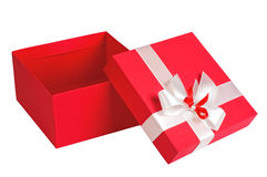 Red gift box. Open, isolated on white background Royalty Free Stock Photos