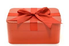 Red gift box. Isolated on white background Royalty Free Stock Photography