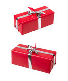 Red gift box. With silver ribbon over white with clipping path Stock Photography