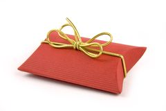 Red gift box. With gold ribbon on white background Stock Photo