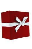 Red Gift Box. Tied with a white silk bow royalty free stock photo