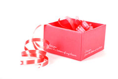 Red gift box with Royalty Free Stock Images