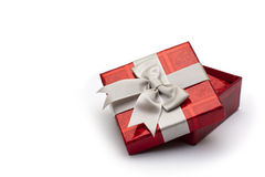 Red gift box. A red gift box with white ribbon, for any occasion Royalty Free Stock Photography