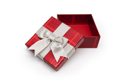 Red gift box from above. An opened red gift box from above with white ribbon, for any occasion Stock Image