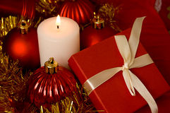 Red Gift Box And Candle Stock Images