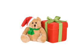 Red Gift Box And Santa Teddy Royalty Free Stock Images