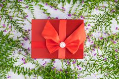Red gift box background and leaves royalty free stock photography
