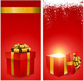 Red gift box banners. Red banners with 3d realistic gift box and golden bow. Vector illustration vector illustration