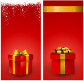 Red gift box banners. Red banners with 3d realistic gift box and golden bow. Vector illustration Stock Image