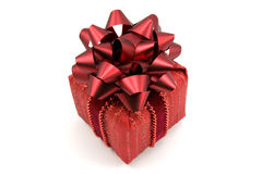 Red gift  box with big  bow Stock Photography