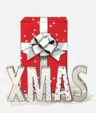 Red gift box with big white ribbon and letters XMAS, christmas illustration Royalty Free Stock Photo