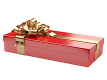 Red gift box with blank gift tag Royalty Free Stock Photos