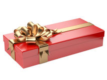 Red gift box with blank gift tag Stock Photos