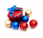 Red gift box with blue bow Stock Images