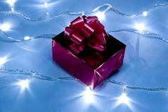 Red gift box with bow Royalty Free Stock Photography