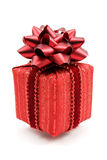 Red gift box with  bow Royalty Free Stock Images