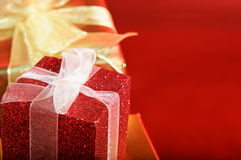 Red Gift Box with Bow Stock Photos