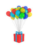 Red Gift Box with a bow and balloons Royalty Free Stock Photography