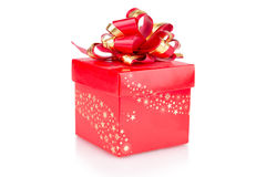 Red Gift Box with a bow Royalty Free Stock Photo