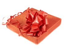 Red gift box with a bow Stock Images