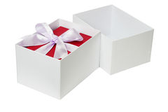 Red gift box with bow ribbon Royalty Free Stock Photo