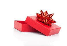 Red gift box with bow Stock Image