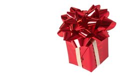 Red gift box with bow on white background Stock Photography