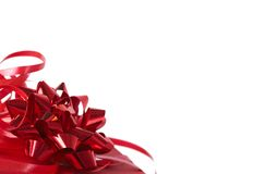 Red gift box with bows Royalty Free Stock Image