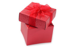 Red gift box for celebration. Stock Photos