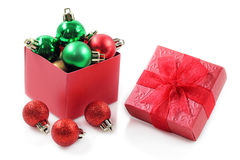 Red gift box for celebration. Royalty Free Stock Photo