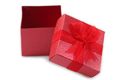 Red gift box for celebration. Stock Image