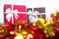 Red Gift Box for Christmas Celebration Stock Photos